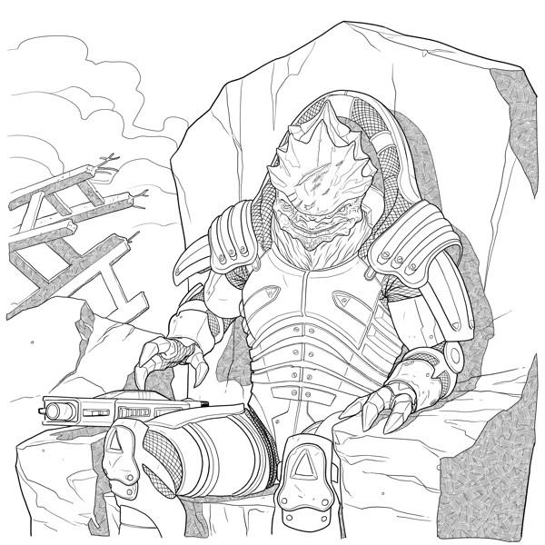 Mass Effect Adult Coloring Book TPB Profile Dark