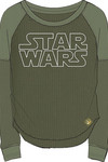 Star Wars Rogue One Rose Gold Logo Army Green Long Sleeve Knit Shirt MED
