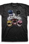 Mighty Morphin Power Rangers Japanese Logo And Helmets Black T-Shirt LG