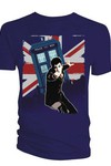 Doctor Who 10th Doctor Union Jack Navy T-Shirt LG