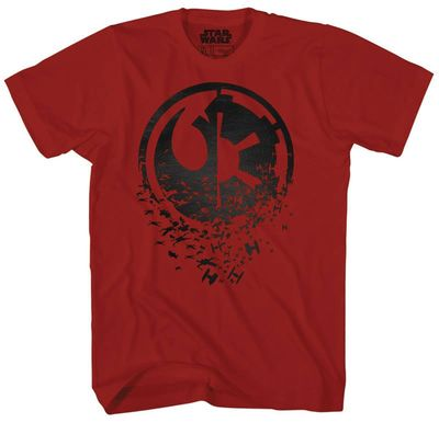 Image of Star Wars Duel Side Black Foil Cardinal Previews Exclusive Red T-Shirt MED