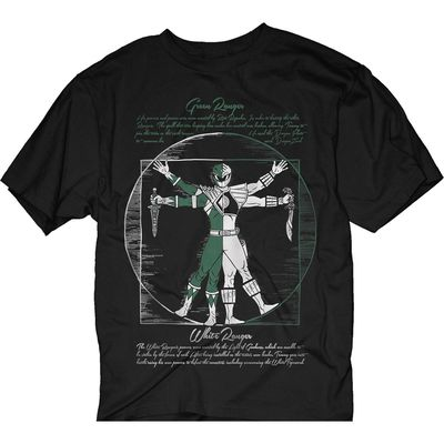 Image of Mighty Morphin Power Rangers Vitruvian Green White Ranger Black T-Shirt LG