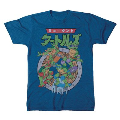 Image of Teenage Mutant Ninja Turtles Japanese Logo Royal Heather T-Shirt MED