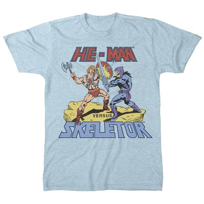 Image of Master of the Universe He-man vs. Skeletor Sky Blue T-Shirt LG