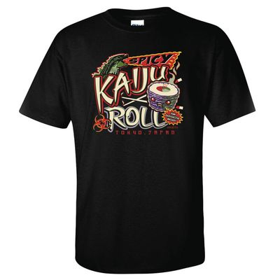 Image of Spicy Kaiju Roll Black T-Shirt MED