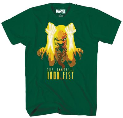 Image of Marvel Fists A Flame Forest Green T-Shirt LG