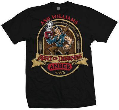 Image of Army of Darkness Ash Amber Ale Previews Exclusive Black T-Shirt LG