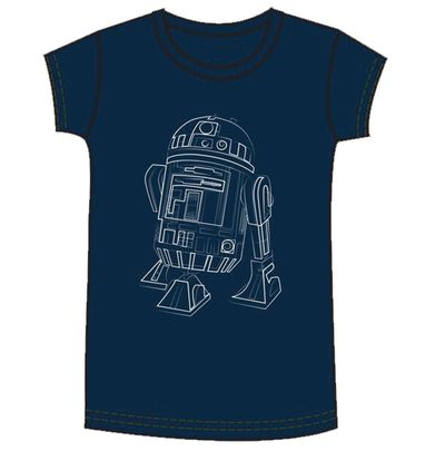 Image of Star Wars R2d2 Line Art Womens Navy T-Shirt LG