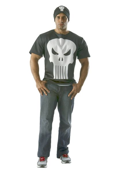 Image of Marvel Punisher T-Shirt W/ Beanie MED