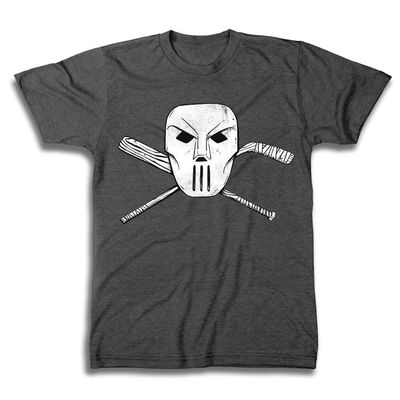 Image of Teenage Mutant Ninja Turtles Casey Jones Mask & Cross Bones Char Hthr T-Shirt LG