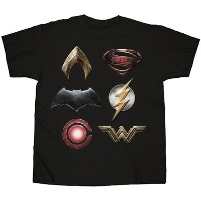 Image of Justice League Logos Stacked Black T-Shirt LG
