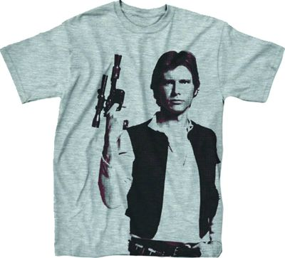 Image of Star Wars Han The Man Heather Grey T-Shirt LG