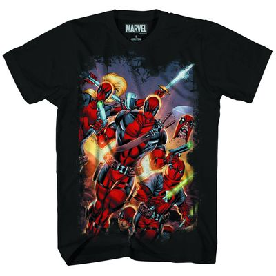 Deadpool Red Masked Blk T-Shirt XL