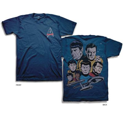 Image of Star Trek Cast Navy T-Shirt LG