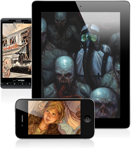 Dark Horse app on various mobile devices